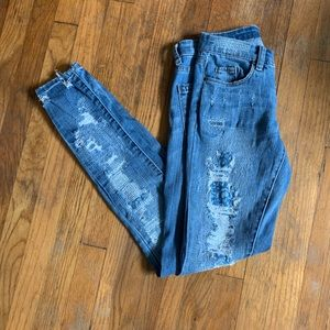 Blank NYC Distressed Paisley Print Jeans